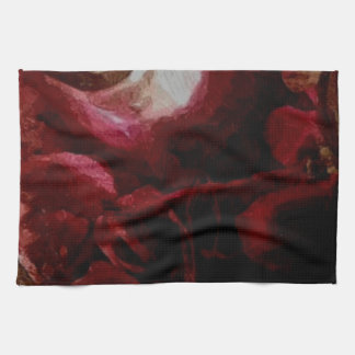 Dark Red Candlelight Oil Painting Hand Towels