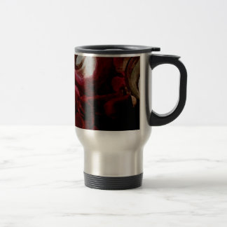 Dark Red Candlelight Oil Painting Travel Mug