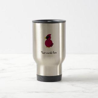 Dark red cardinal travel mug