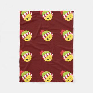 Dark Red Christmas/Winter Emoji Fleece Blanket