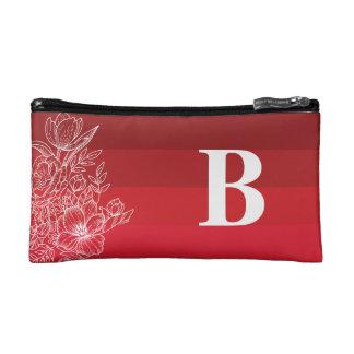Dark Red Color Shades Monogram cosmetic Bag