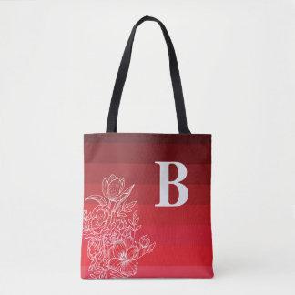 Dark Red Color Shades Monogram Tote Bag