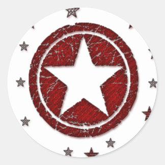 Dark Red Cracked Western Star Badge Stickers