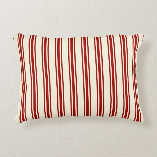 Dark Red & Cream Ticking Stripes Pattern Accent Pillow