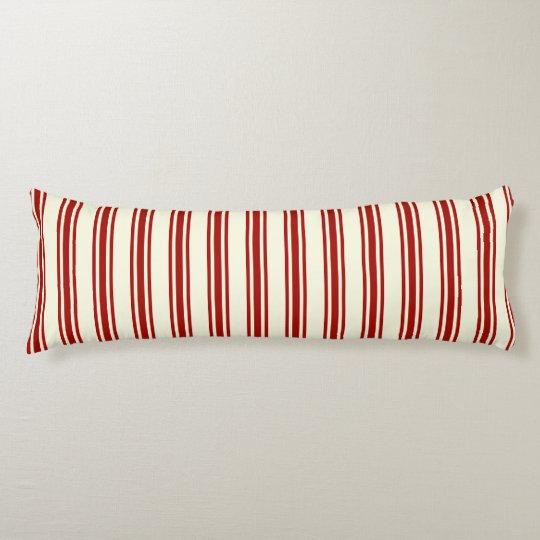 Dark Red & Cream Ticking Stripes Pattern Body Pillow