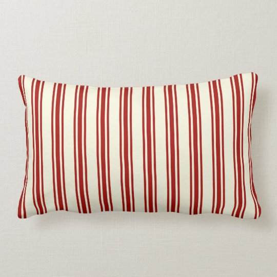 Dark Red & Cream Ticking Stripes Pattern Lumbar Pillow