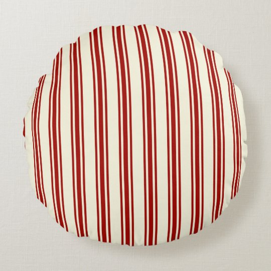 Dark Red & Cream Ticking Stripes Pattern Round Pillow