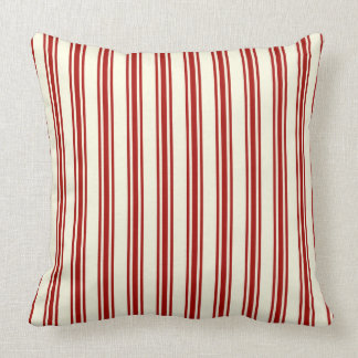 Dark Red & Cream Ticking Stripes Pattern Throw Pillow
