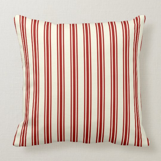 Dark Red & Cream Ticking Stripes Pattern Throw Pillow