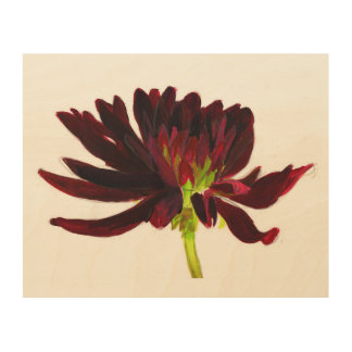 Dark red dahlia wall art wood canvases