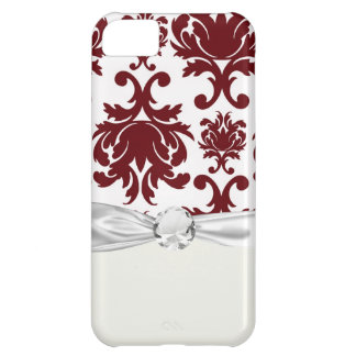 dark red damask pattern on white cover for iPhone 5C