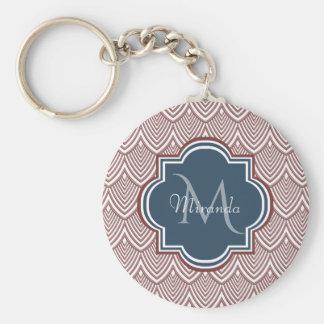 Dark Red Deco Scallops Navy Blue Monogram Name Keychain