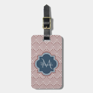 Dark Red Deco Scallops Navy Blue Monogram Name Luggage Tag