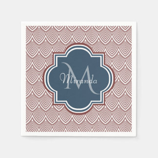 Dark Red Deco Scallops Navy Blue Monogram Name Napkin