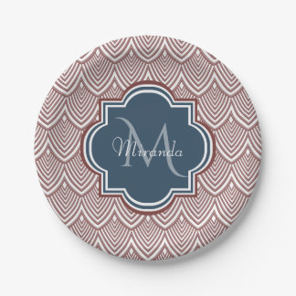 Dark Red Deco Scallops Navy Blue Monogram Name Paper Plate