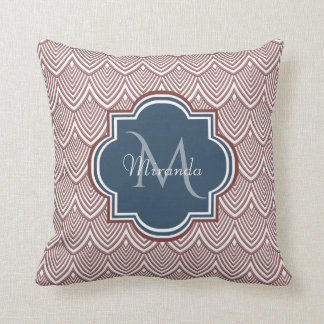 Dark Red Deco Scallops Navy Blue Monogram Name Throw Pillow