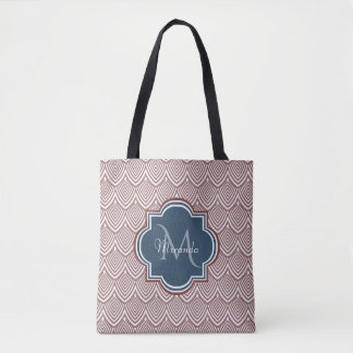 Dark Red Deco Scallops Navy Blue Monogram Name Tote Bag