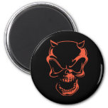 Dark Red Demon Skull 2 Inch Round Magnet