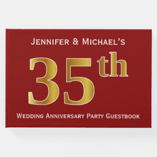 Dark Red, Faux Gold 35th Wedding Anniversary Party Guest Book