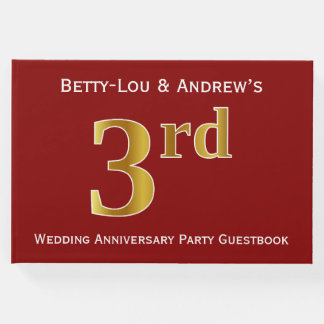 Dark Red, Faux Gold 3rd Wedding Anniversary Party Guest Book