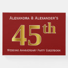 Dark Red, Faux Gold 45th Wedding Anniversary Party Guest Book