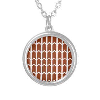 Dark Red Fence Panel Silver Plated Necklace