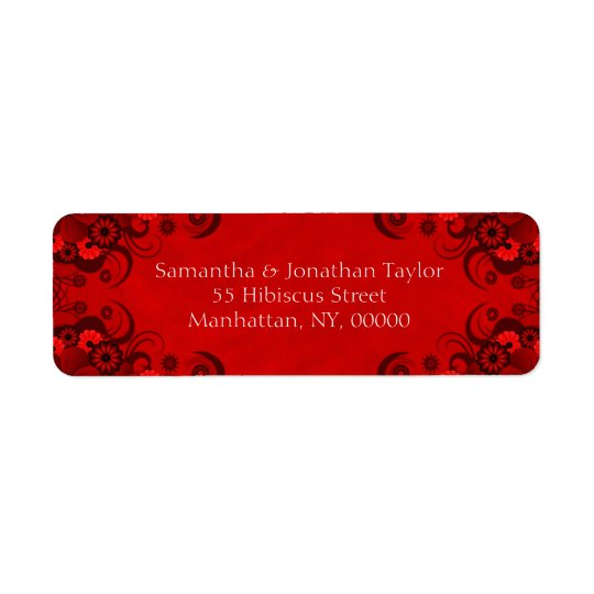 Dark Red Floral Gothic Return Address Labels
