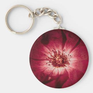 Dark Red Flower Blossom Basic Round Button Keychain