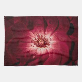 Dark Red Flower Blossom Kitchen Towel