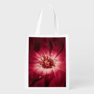 Dark Red Flower Blossom Reusable Grocery Bag