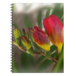 dark red freesia spiral notebook