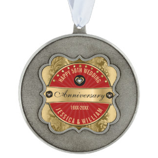 Dark-Red & Gold 50th Wedding Anniversary Scalloped Pewter Ornament