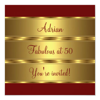 Dark Red & Gold Fabulous 50th Birthday Party 2 Card