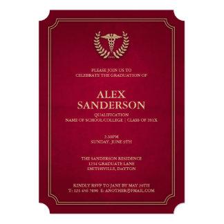 Dark Red+Gold Medical Caduceus Graduation Party Card