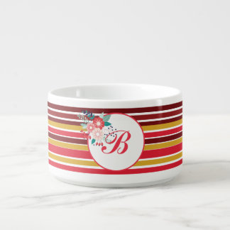 Dark Red & Gold Stripe Pattern Flower Monogram Bowl