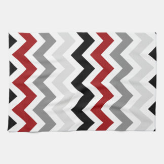 Dark Red Gray Black White Chevron Kitchen Towels
