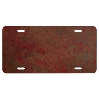 Dark Red Grungy License Plate