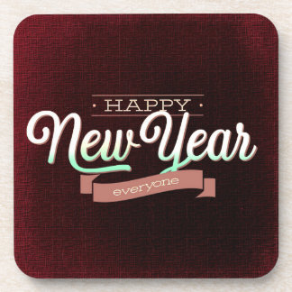 Dark Red Happy New Year Coaster