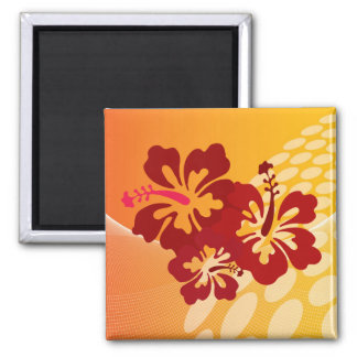 Dark Red Hibiscus Design Magnet