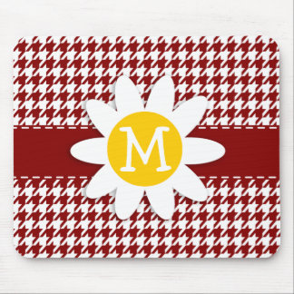 Dark Red Houndstooth; Daisy Mouse Pad