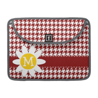 Dark Red Houndstooth; Daisy Sleeves For MacBooks