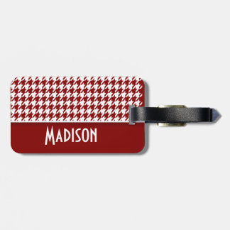 Dark Red Houndstooth; Personalized Luggage Tag