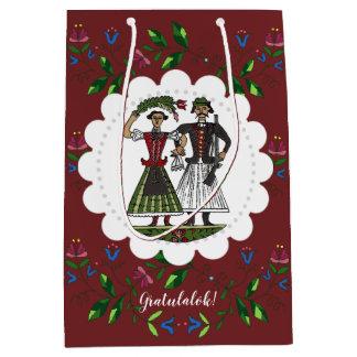 Dark Red Hungarian Wedding Couple Congratulations! Medium Gift Bag