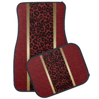 Dark Red Leopard Animal Pattern Car Mat