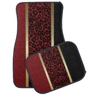Dark Red Leopard Animal Print Pattern | Tan Floor Mat