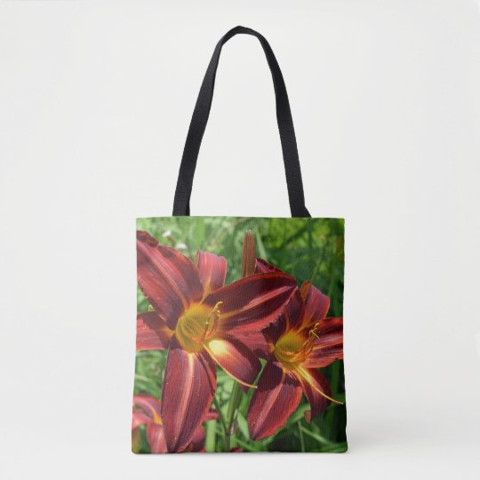 Dark red lilies all-over-print tote bag