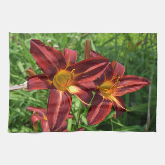Dark red lilies kitchen towel