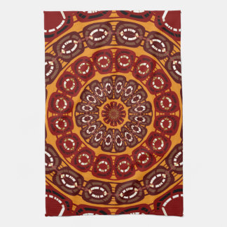 Dark red mandala kitchen towel
