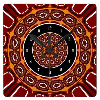 Dark red mandala square wall clock