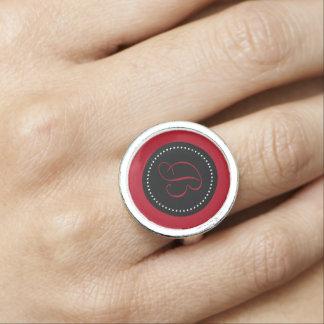 Dark Red Monogram on Black with White Dots Ring